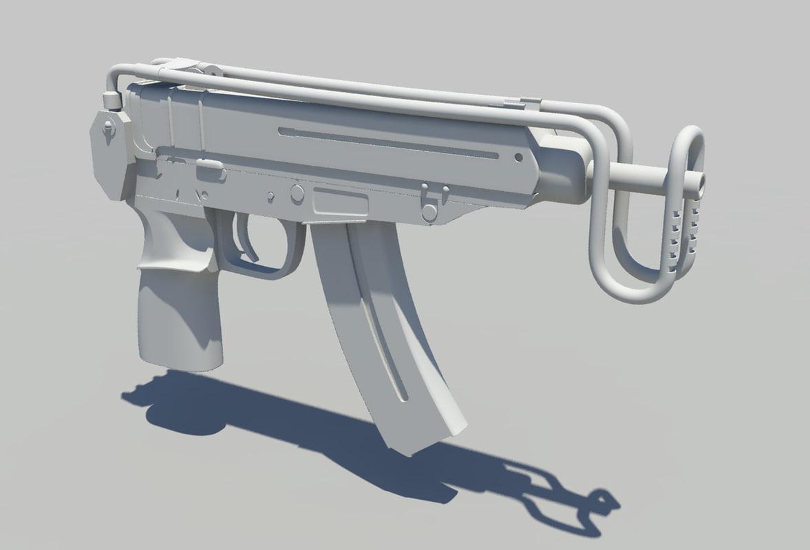 scorpion machine pistol 3d obj