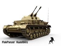 3d model flakpanzer iv kugelblitz panzer tank