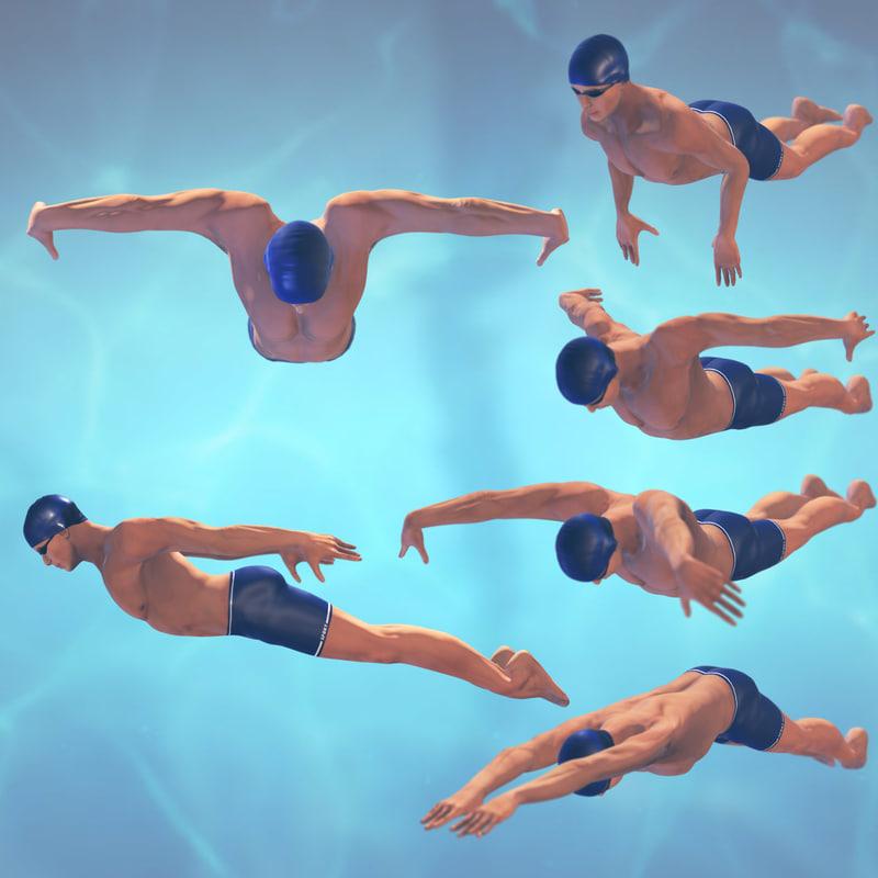 swimming man rigged max