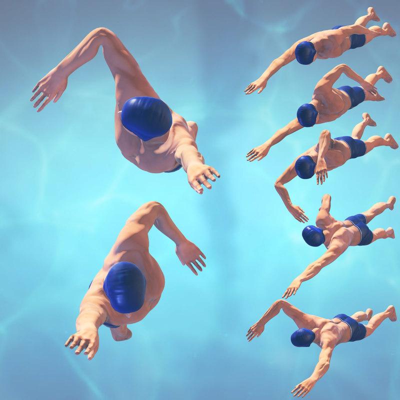 swimming man rigged classic 3d max