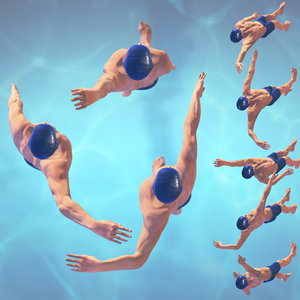 3d swimming man rigged style