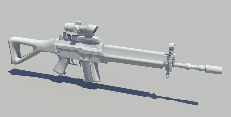 sig rifle 3d obj