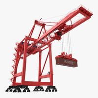 port container crane red 3d max