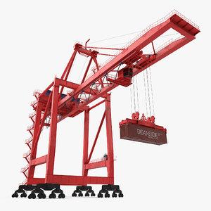 port container crane red 3d max