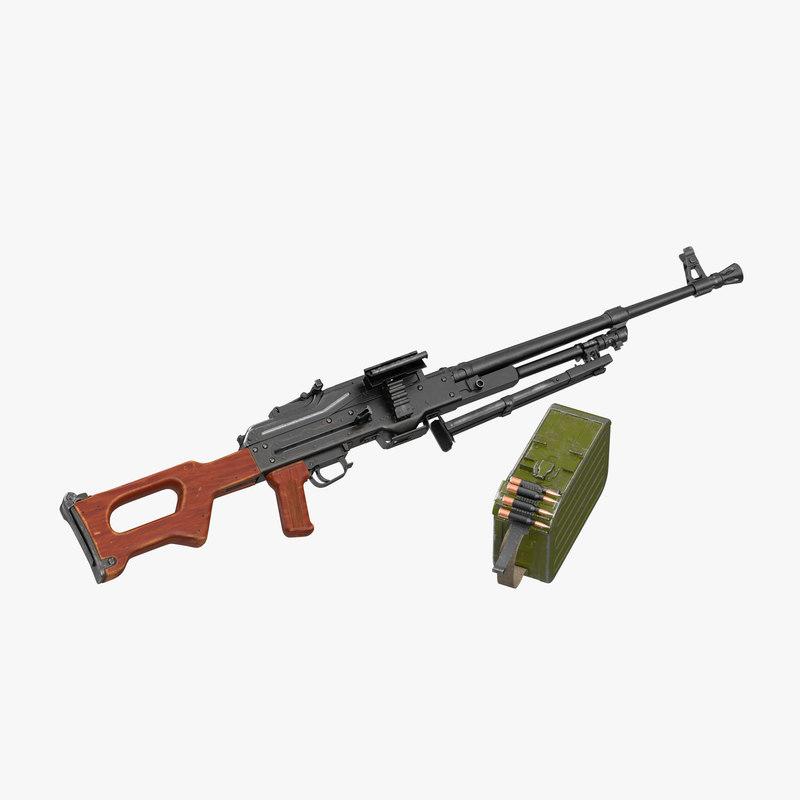 russian machine gun pkm 3d c4d