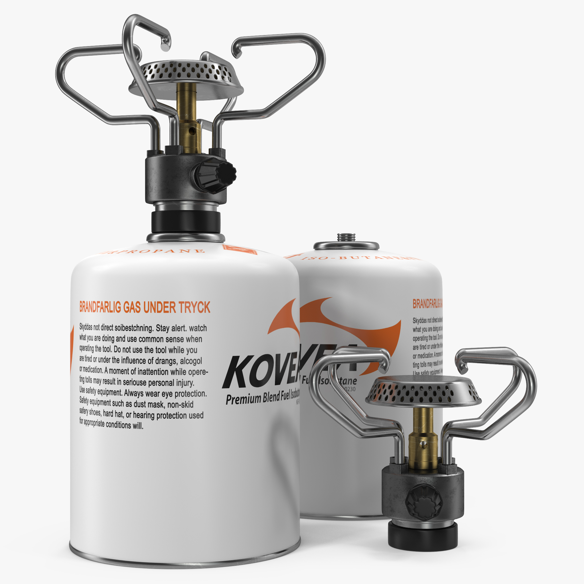Gas Cylinder with Camping Stove Kovea 3D Model