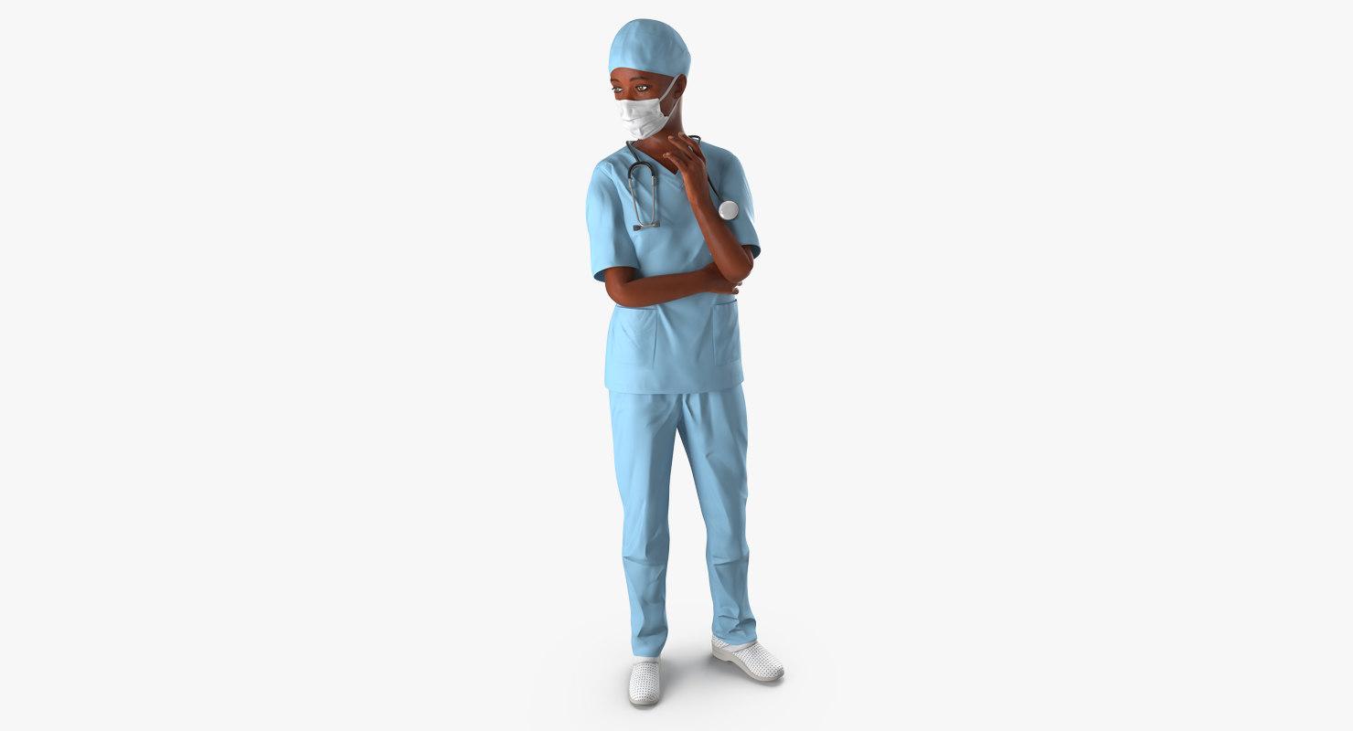 3d african american female surgeon model