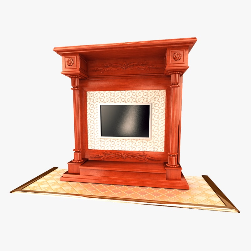 3d max fireplace metal stone