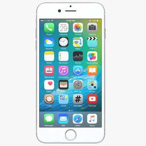 3d model apple iphone 7 silver