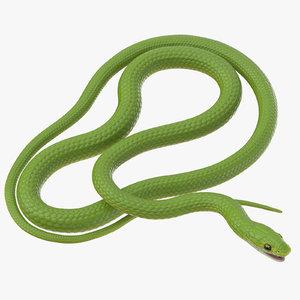 3d model green snake 03