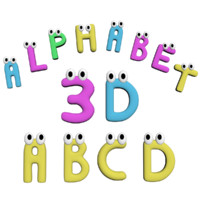 3d model advertising alphabet rigged
