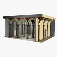 3d romanic vaulting column spacings model