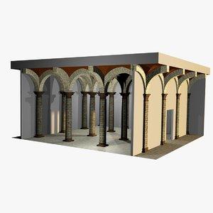 3d romanic vaulting column spacings model