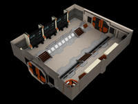 Low-Poly Sci-Fi Control Room