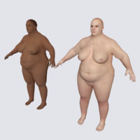 3d realistic fat woman