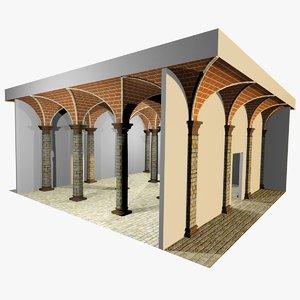 3d max romanic vaulting column spacings