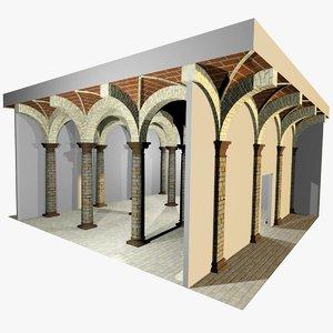 3d romanic vaulting column spacings