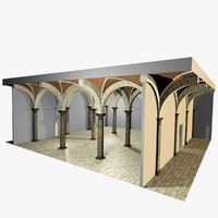 3d model romanic vaulting column spacings