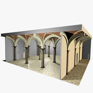 3d model romanic vaulting column spacings