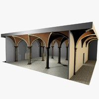 3d model of romanic vaulting column spacings