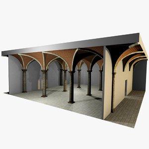 3d model of romanic vaulting column spacings