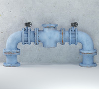 water pipes blue c4d