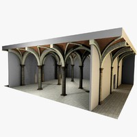 romanic vaulting column spacings 3d model