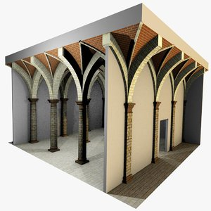 romanic vaulting column spacings 3d model