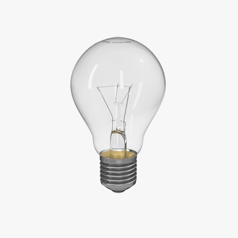 3d light incandescent bulb lamp