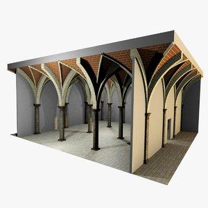 romanic vaulting column spacings 3d max