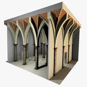 3d romanic vaulting column 5