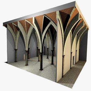 romanic vaulting column 5 3d model