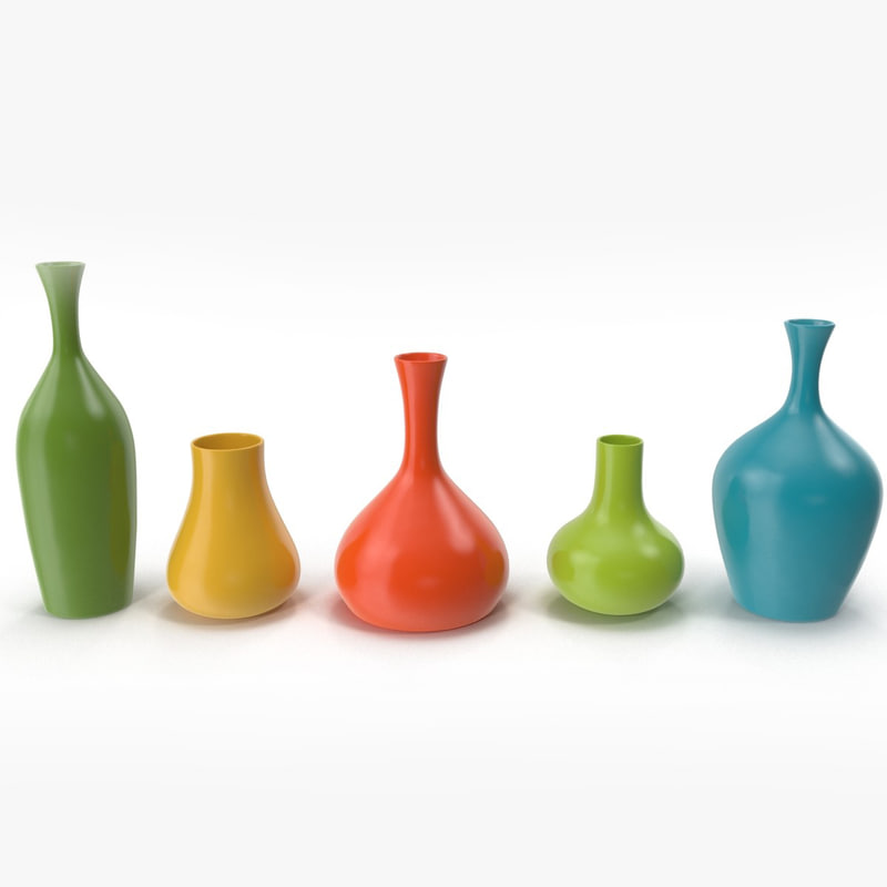 modern colored vases 3d model