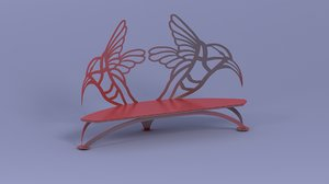 free bench red 3d model