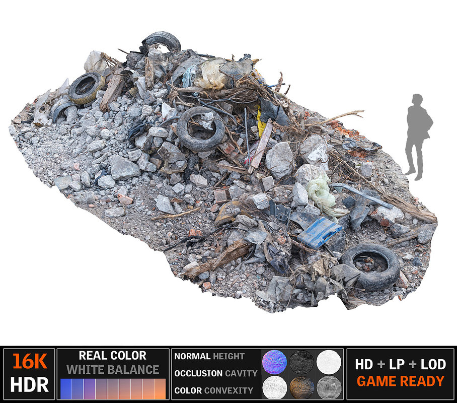 3d model tire garbage 16k