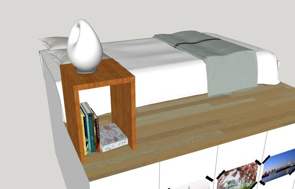 3d model bed bedroom scene