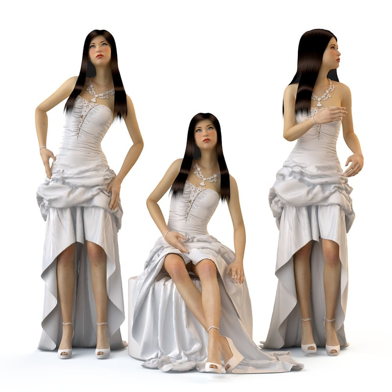 v-ray wedding evening dress 3d model