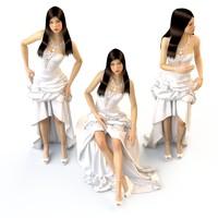 v-ray wedding evening dress 3d model