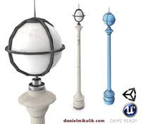 3d model retro street lamp