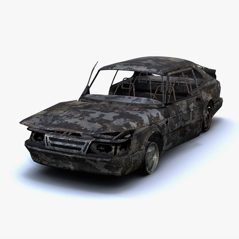 3d low-poly burnt saab 900
