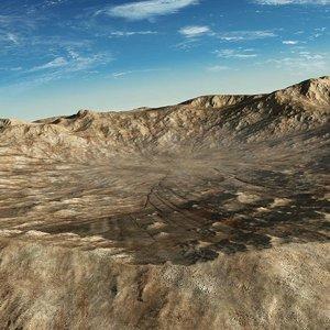 3d crater hills landscape terrain