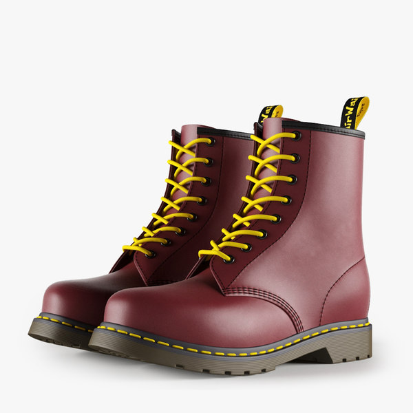 3d model leather red boots