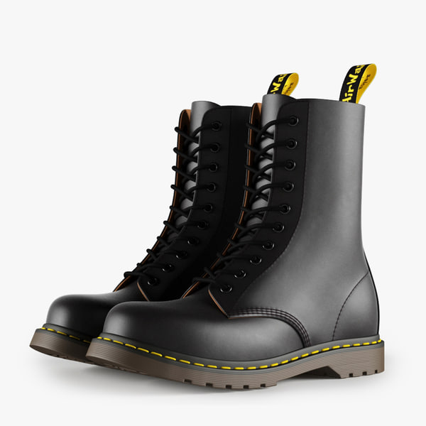 3d model leather black boots