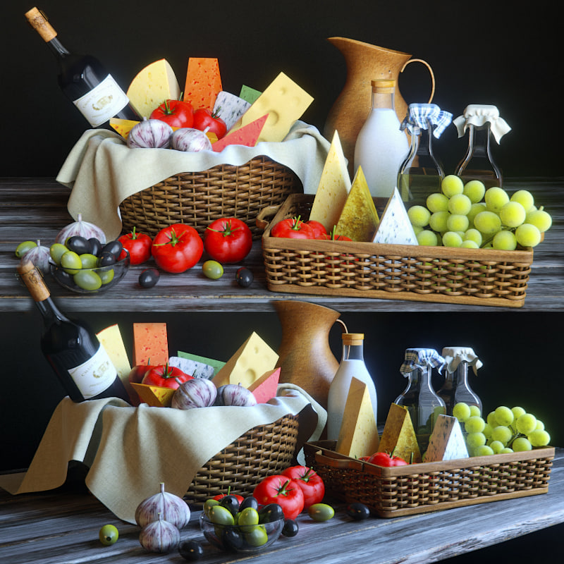 decorative set cheese 3d model