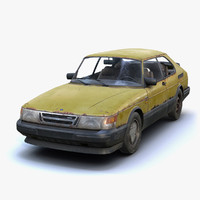 low-poly rusty saab 900 obj