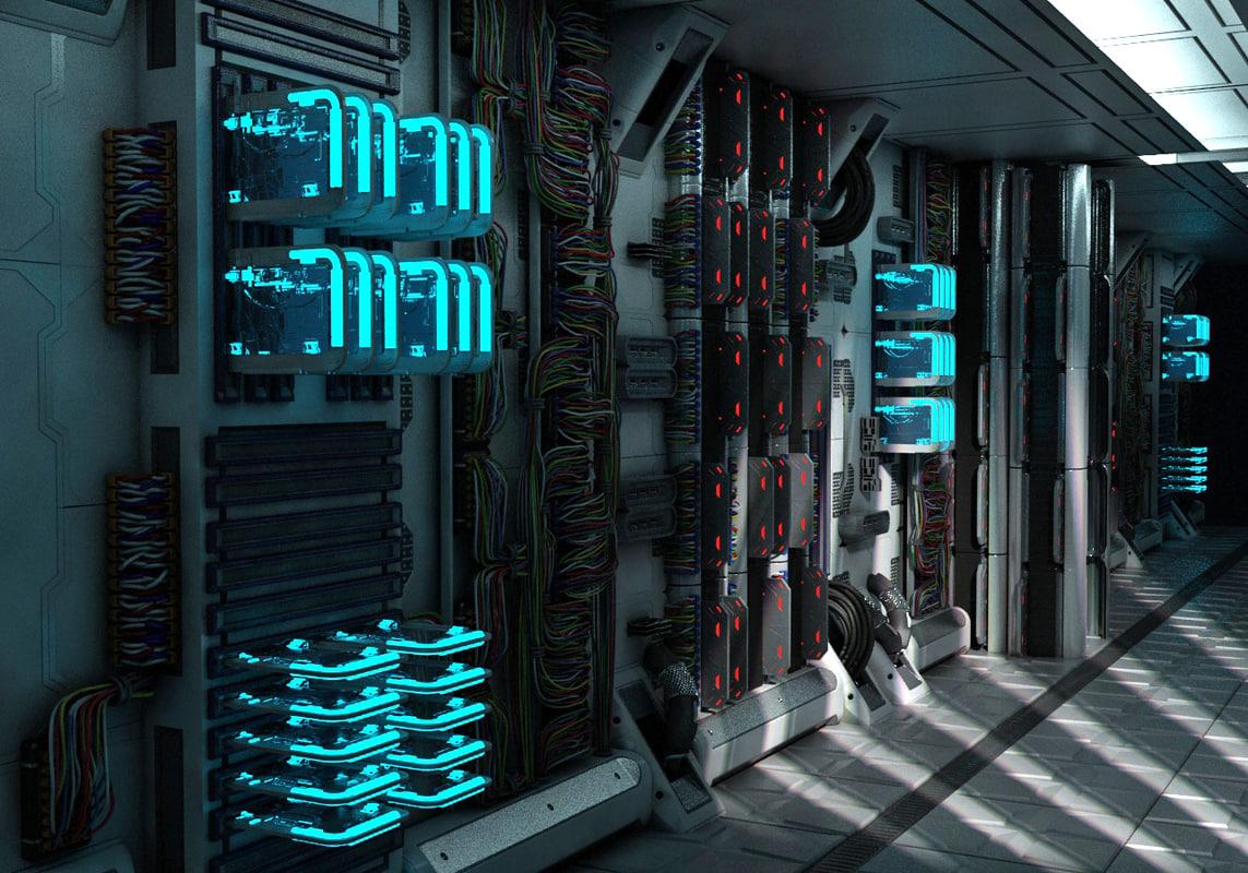 3d model server room corridor