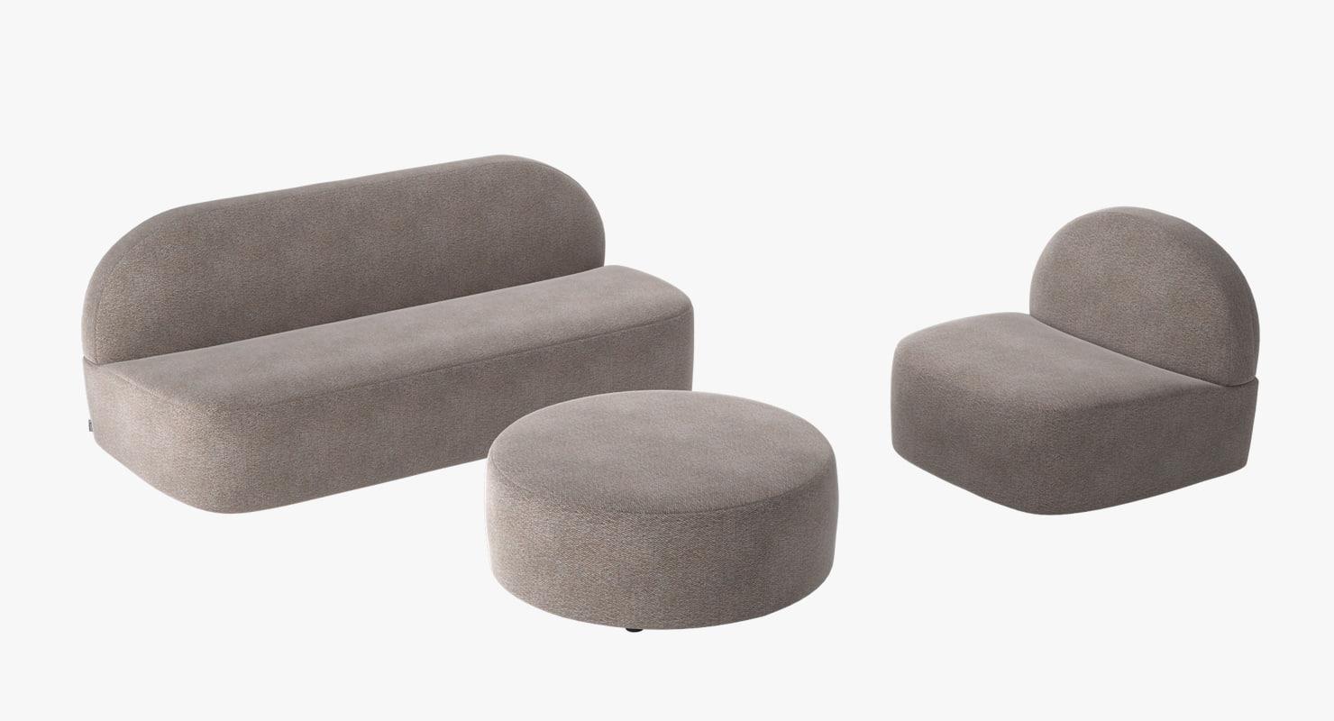 3d model sofa armchair 1 guest
