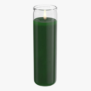 3d model voodoo candle 02 green