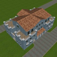 3d model urban city duplex villa