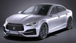 3d model generic sedan 2017